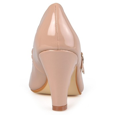 Women's Journee Collection Wide Width Mary Jane Faux Leather Pumps - Pale Blush 7.5W