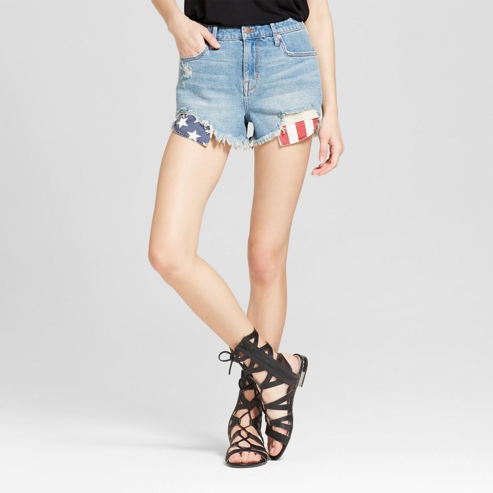 Women's Jean Americana Stars & Stripes Pocket Bag Shorts - Mossimo Apollo Blue 10