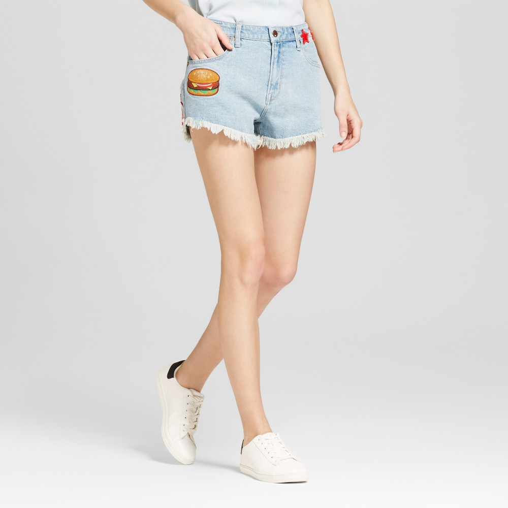 Womens Jean Cutoff Shorts with Buttons & Patches - Mossimo Light Blue 2