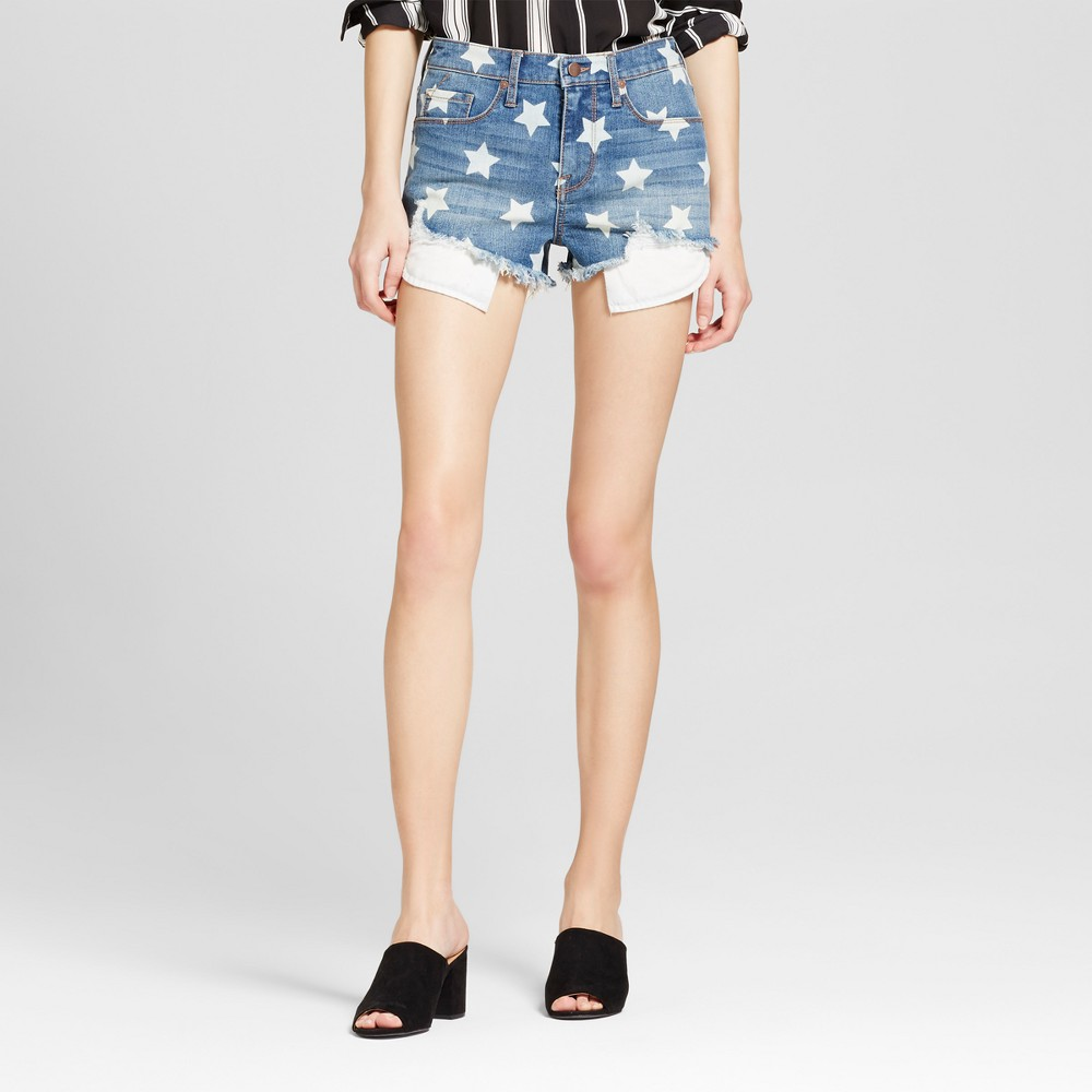Womens Jean Star Print Cut Off Shorts - Mossimo Bay Blue 14