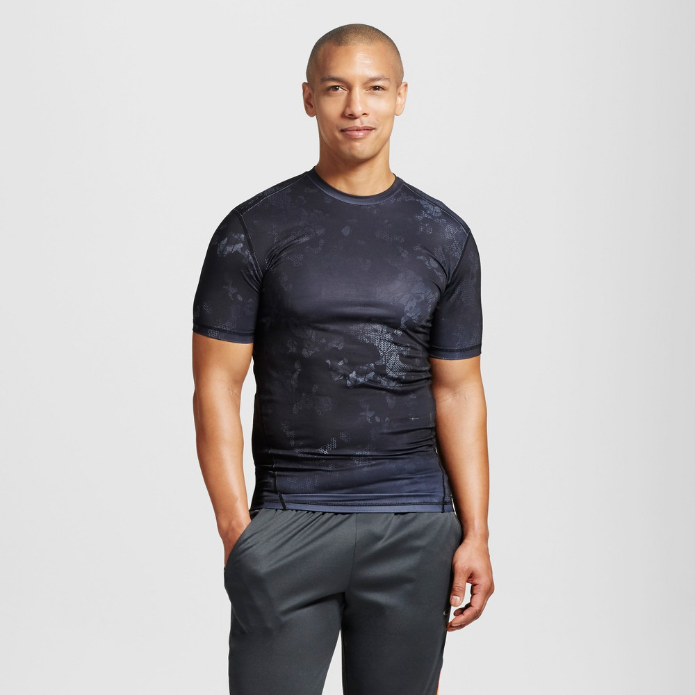 Mens Powercore Printed Compression Shirt - C9 Champion - Charcoal Heather M