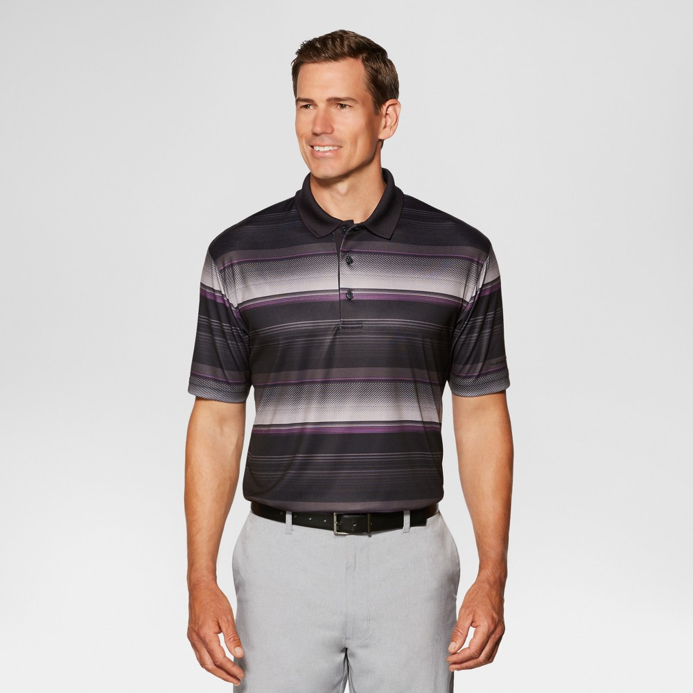 Jack Nicklaus Mens Textured Stripe Golf Polo - Black XS