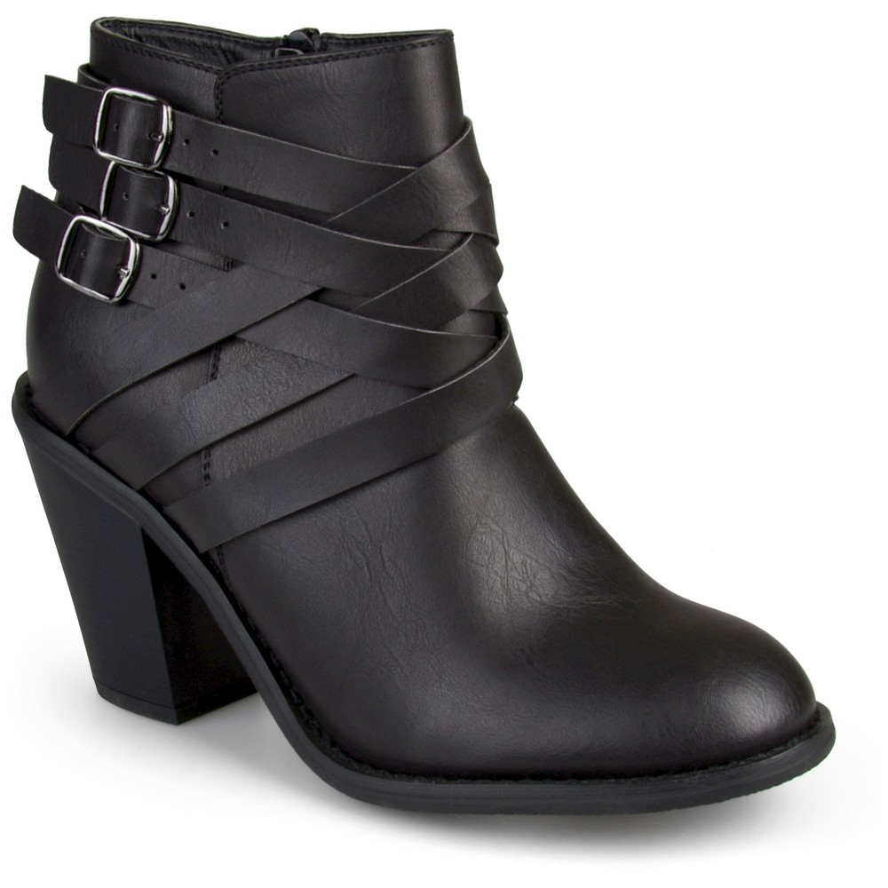 Womens Journee Collection Multiple Strap Booties - Black 5.5