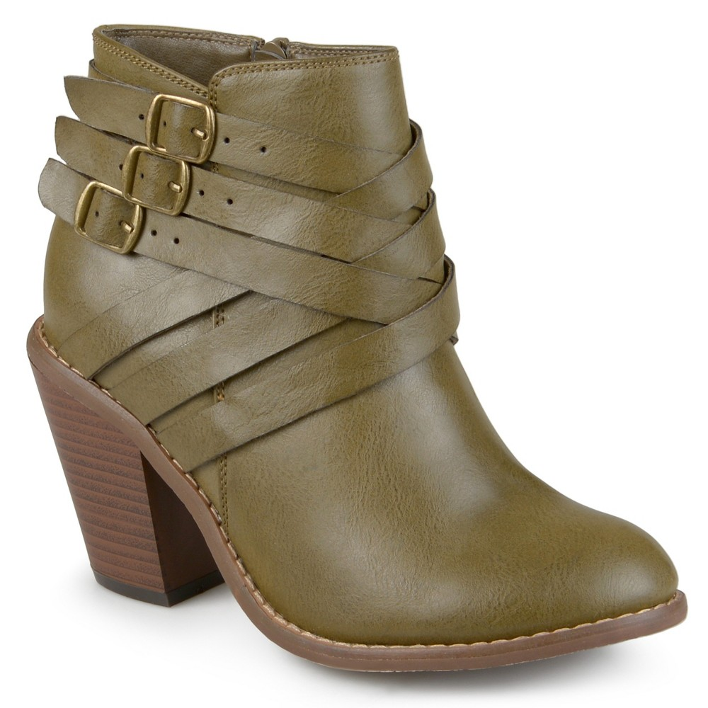 Womens Journee Collection Multiple Strap Booties - Green Olive 12