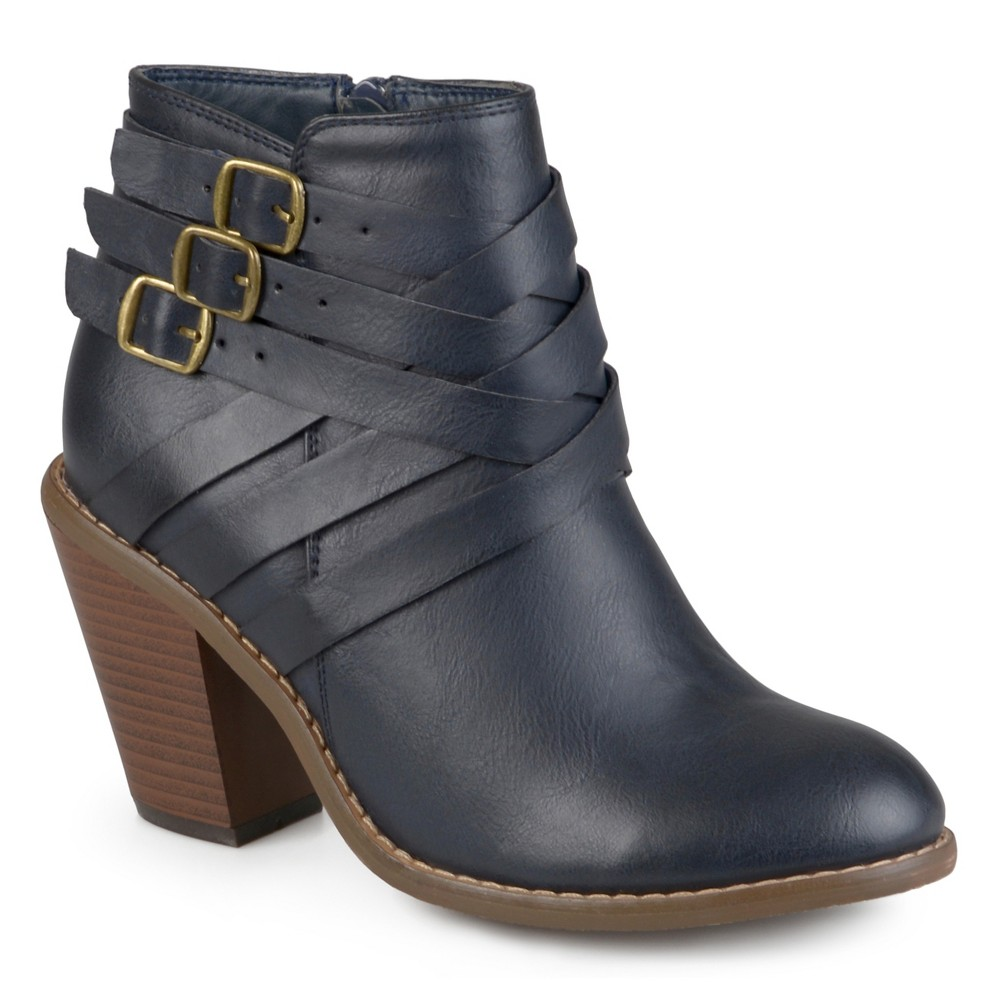 Womens Journee Collection Multiple Strap Booties - Navy (Blue) 8