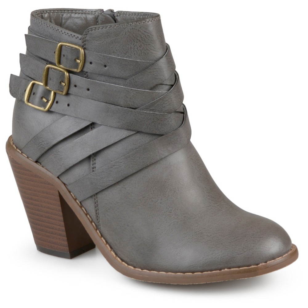 Womens Journee Collection Multiple Strap Booties - Gray 5.5