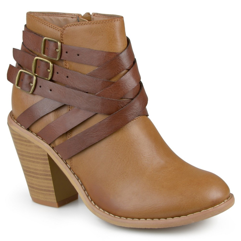 Womens Journee Collection Multiple Strap Booties - Tan 11