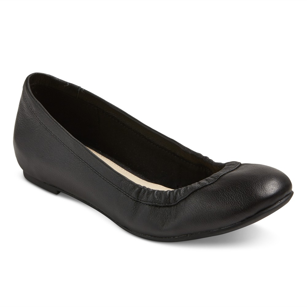 Womens Genuine 1976 Emma Wide Width Leather Ballet Flats - Black 6W, Size: 6 Wide