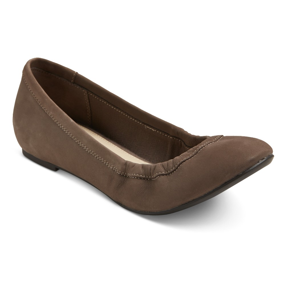 Womens Genuine 1976 Emma Wide Width Leather Ballet Flats - Cement 6W, Size: 6 Wide, Gray