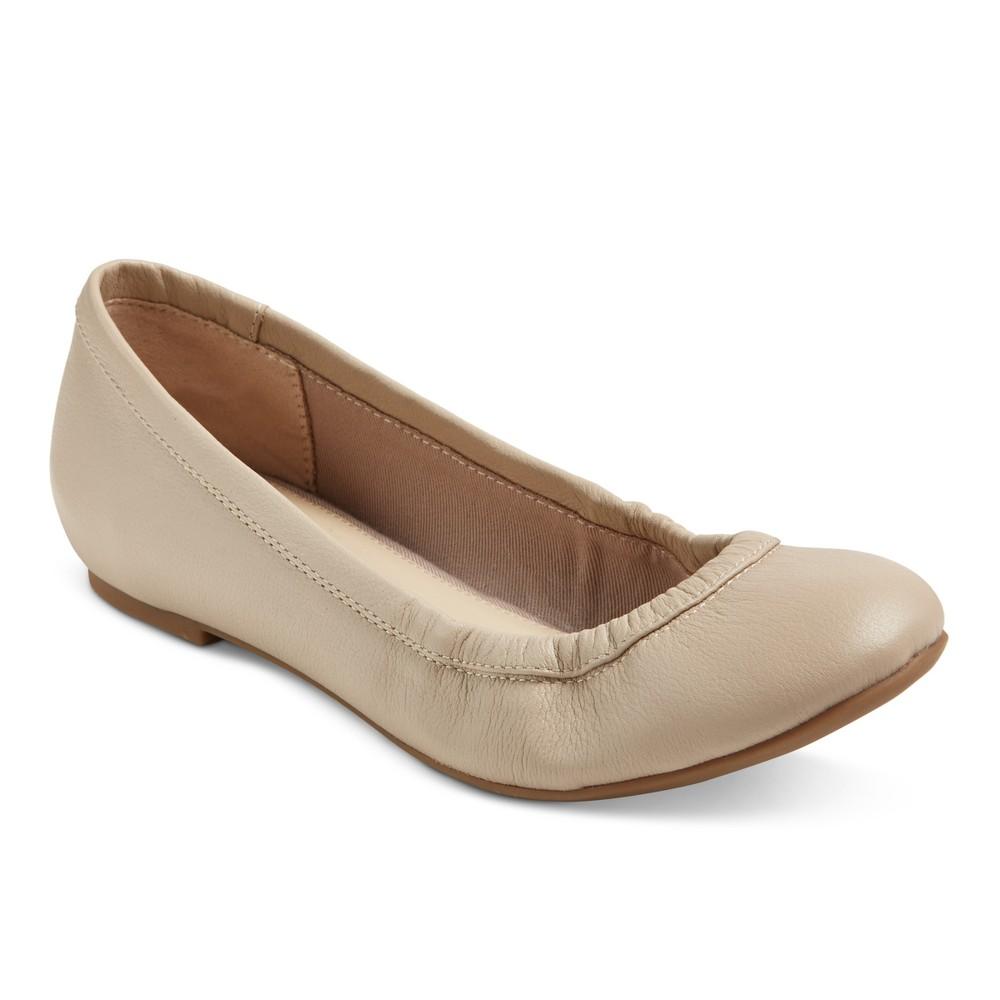 Womens Genuine 1976 Emma Wide Width Leather Ballet Flats - Doe 5.5W, Size: 5.5 Wide, Brown