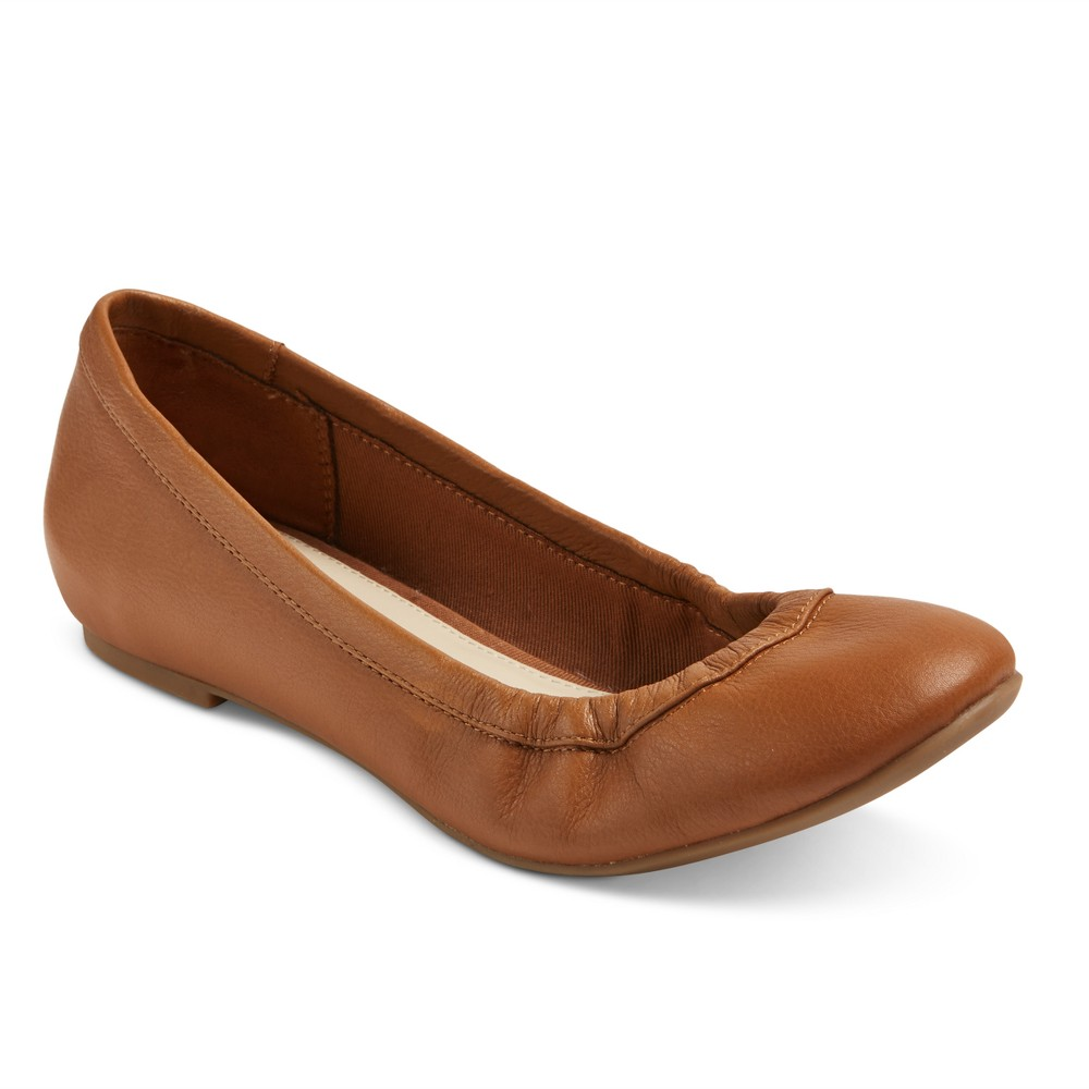 Womens Genuine 1976 Emma Wide Width Leather Ballet Flats - Cognac (Red) 9W, Size: 9 Wide