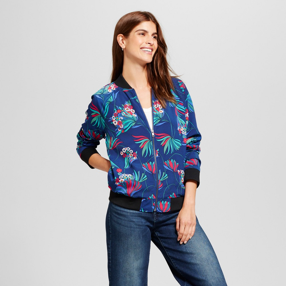 Womens All Over Floral Printed Woven Bomber Jacket - Isani for Target - Navy Combo L, Blue