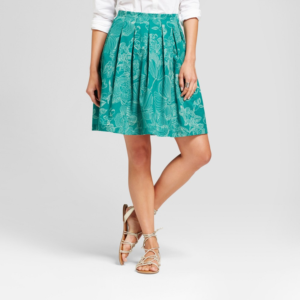 Womens Printed Leaves Pleated Skirt - Isani for Target - Green Combo XL