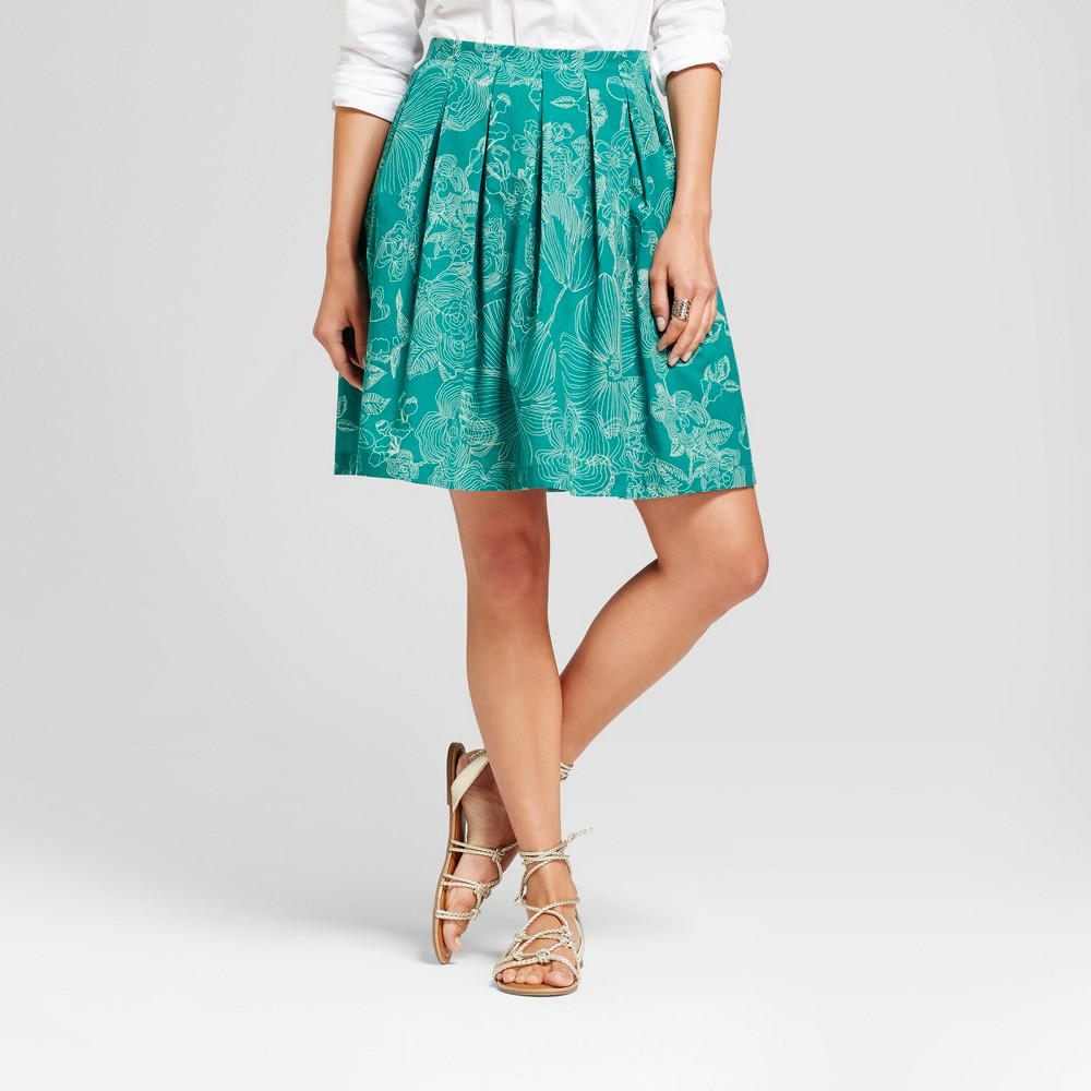 Womens Printed Leaves Pleated Skirt - Isani for Target - Green Combo S