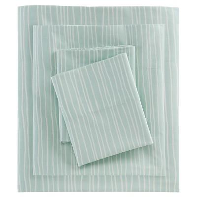 Lines Printed Cotton Sheet Set (King)Aqua