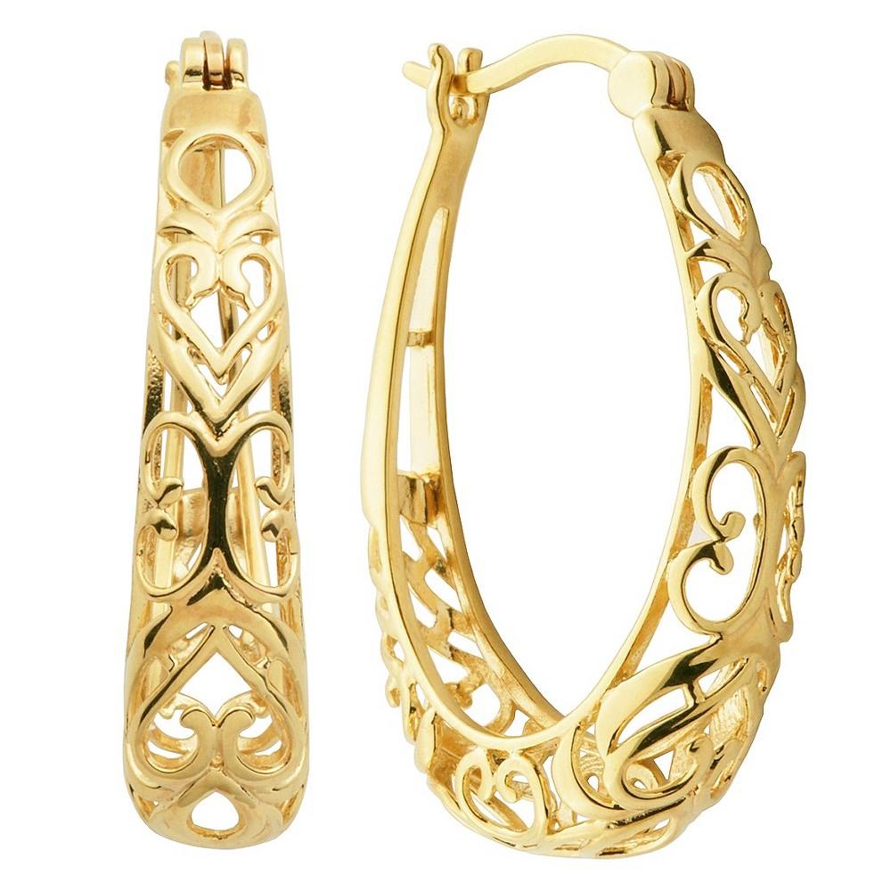 14k Yellow Gold Plated Sterling Silver Hoop Earrings, Womens