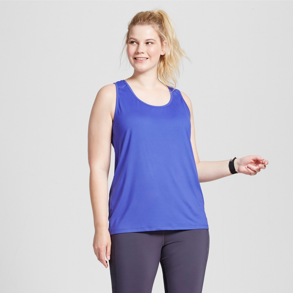 Womens Plus-Size Performance Fitted Tank Top - C9 Champion - Steel Blue 3X