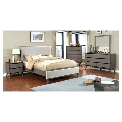 dawna midcentury modern fabric upholstered bed furniture of america