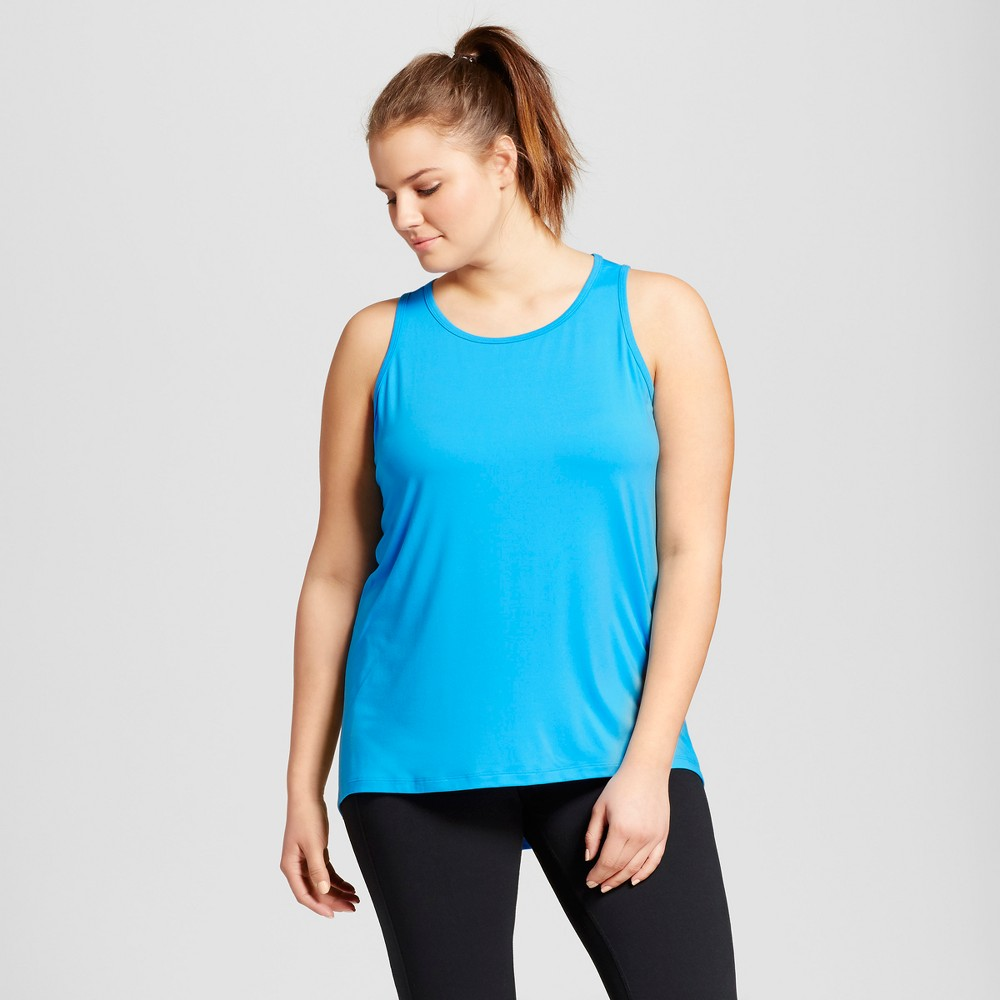 Womens Plus-Size Performance High-Neck Long Tank Top - C9 Champion - Turquoise Waters 2X