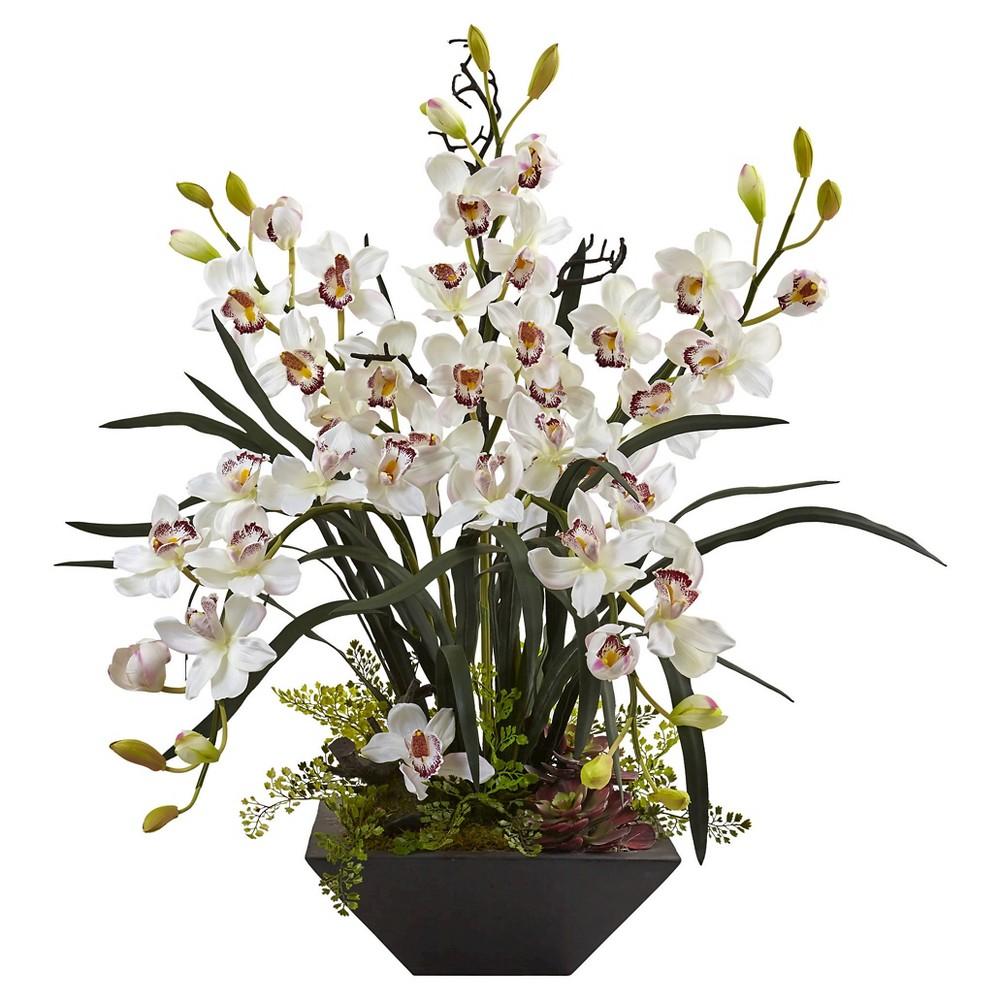 Cymbidium Orchid Silk Arrangement with Black Vase - Nearly Natural, White