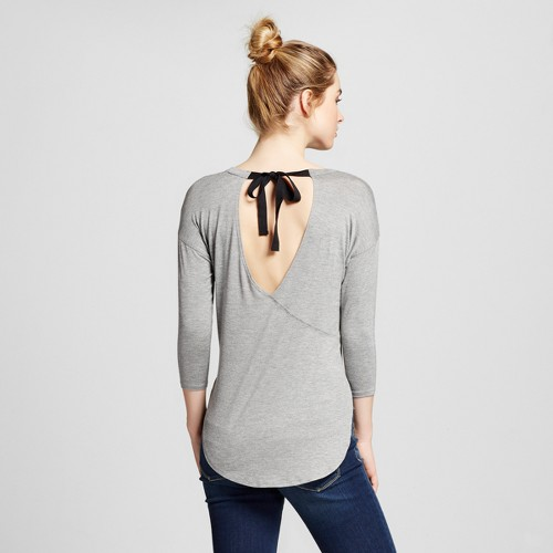 Women's Tie Cut Out Back Tunic Top Heather Grey L - Soul Cake (Juniors'), Gray