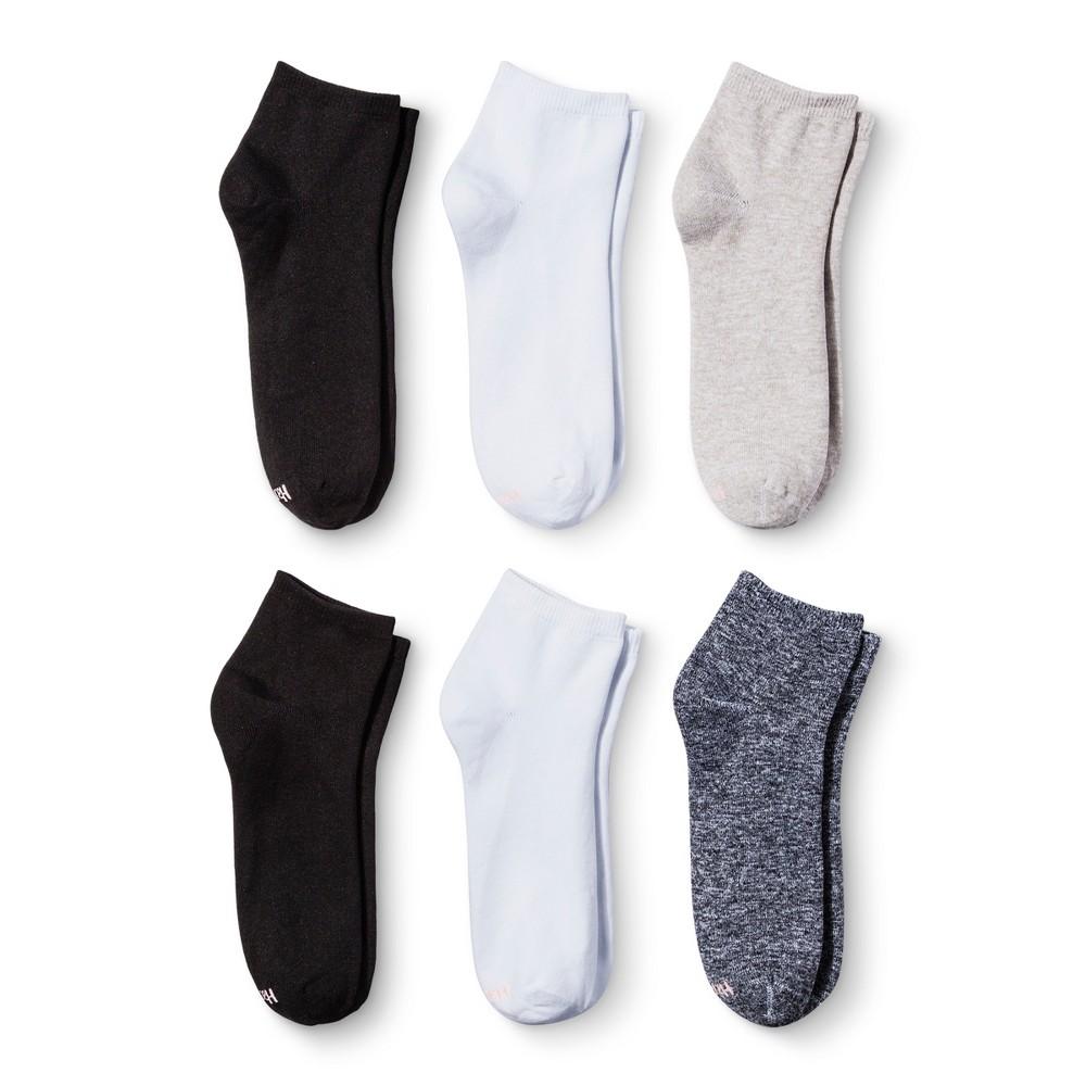 Hanes Premium Womens Ankle Socks 6-pk - Assorted Black 10-12, Size: 8-12