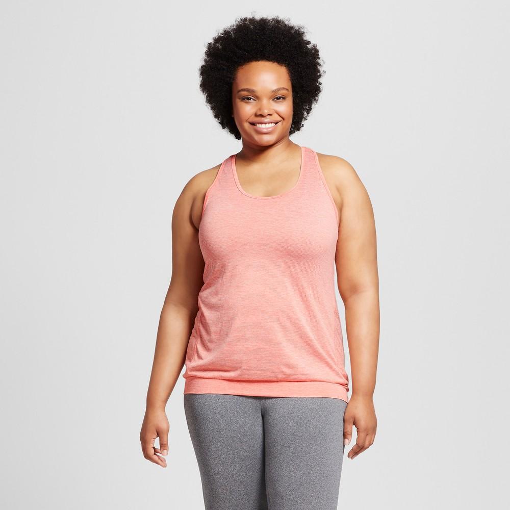 Womens Plus-Size Banded Bottom Tank Top - C9 Champion - Ripe Papaya (Orange) Red Heather 3X