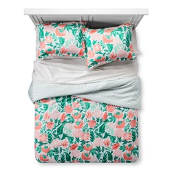 Coral & Emerald Painterly Floral Comforter Set - Xhilaration™