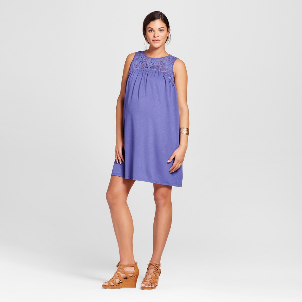 Maternity Burnout Yoke Dress S - 14Th Place, Womens, Sporty Blue