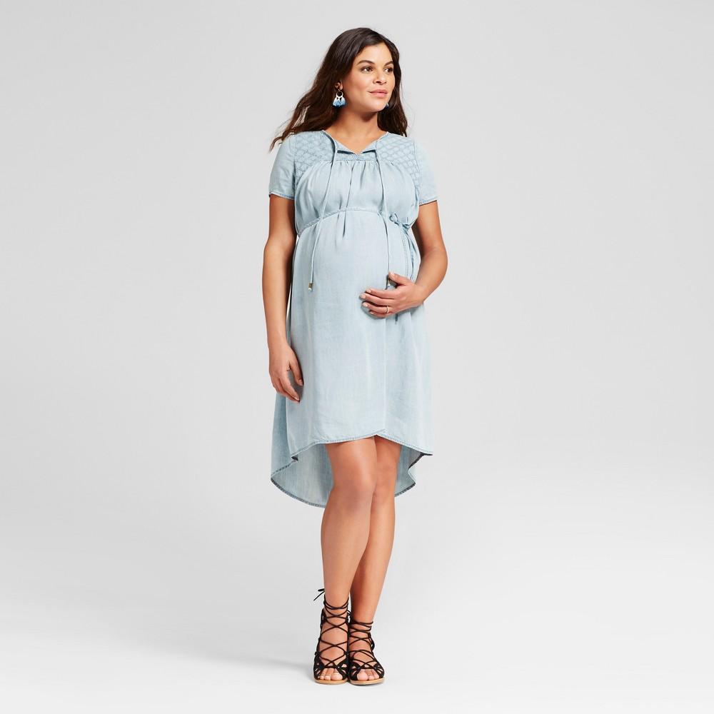 Maternity Denim Wash Eyelet Dress XL - 14Th Place, Womens, Blue