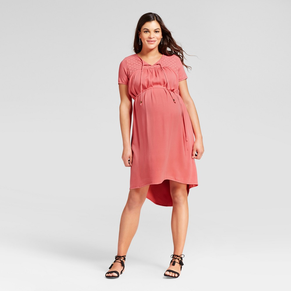 Maternity Eyelet Dress M - 14Th Place, Womens, Coral Ice