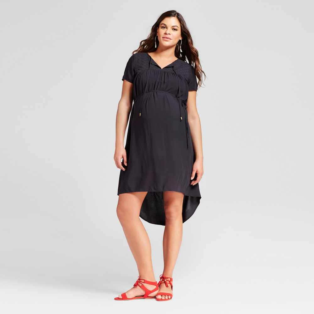 Maternity Eyelet Dress L - 14Th Place, Womens, Black
