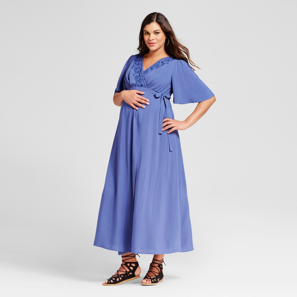 Maternity Embroidered Trim Maxi Dress M - 14Th Place, Womens, Sporty Blue