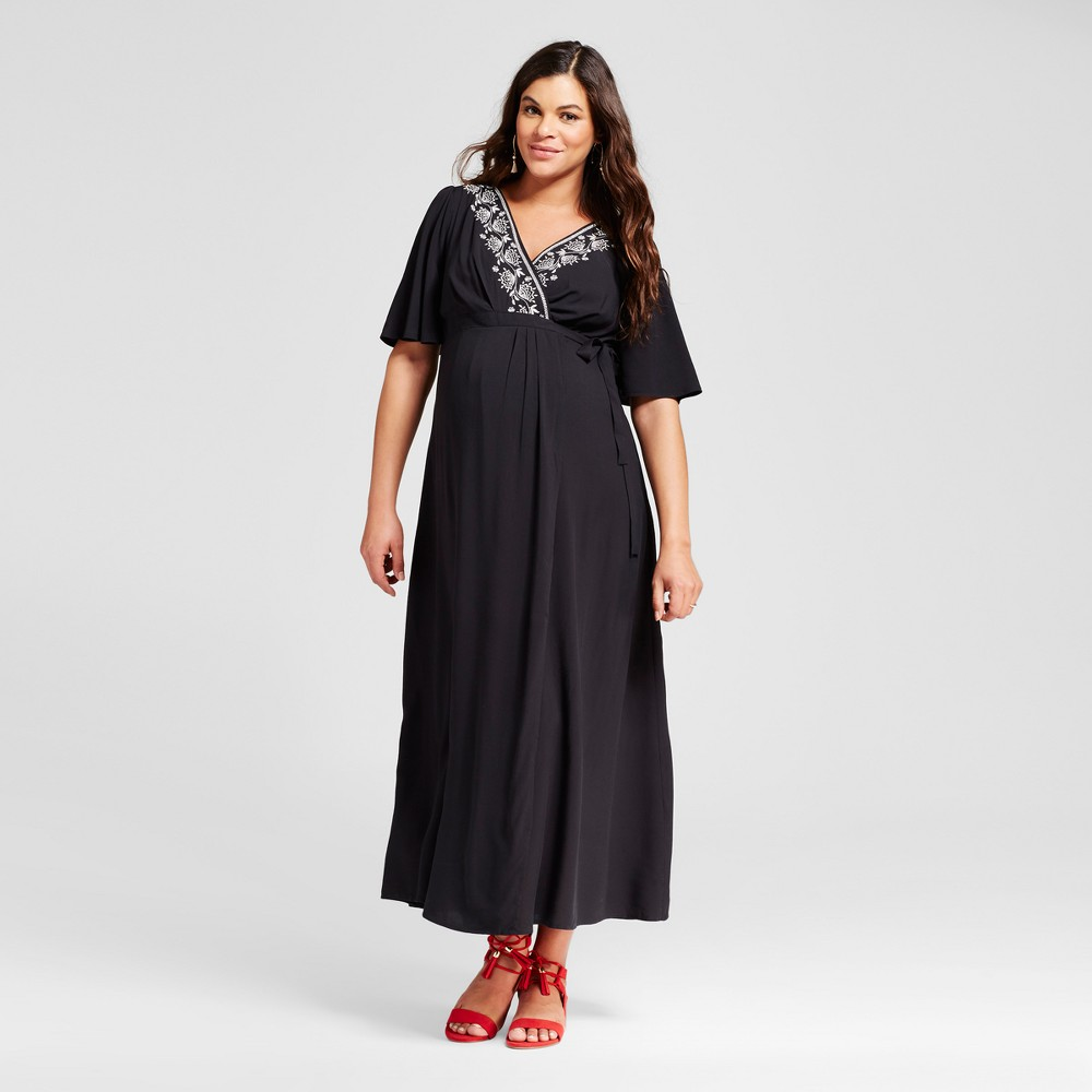 Maternity Embroidered Trim Maxi Dress XL - 14Th Place, Womens, Black