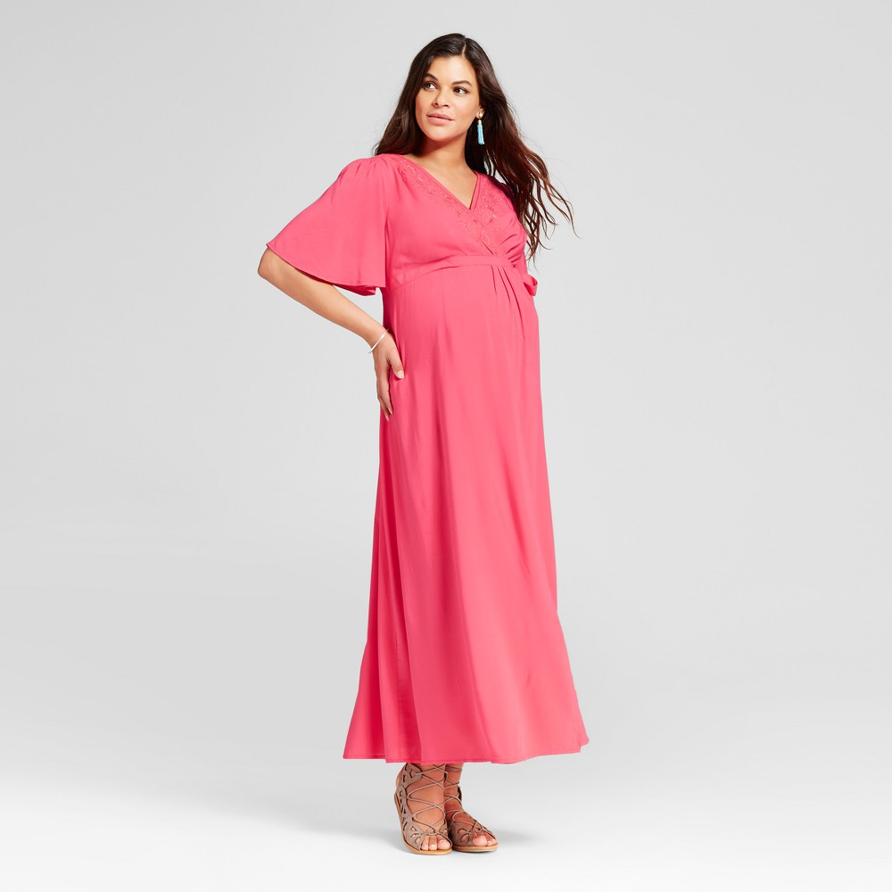Maternity Embroidered Trim Maxi Dress M - 14Th Place, Womens, Kissel Fruit Pink