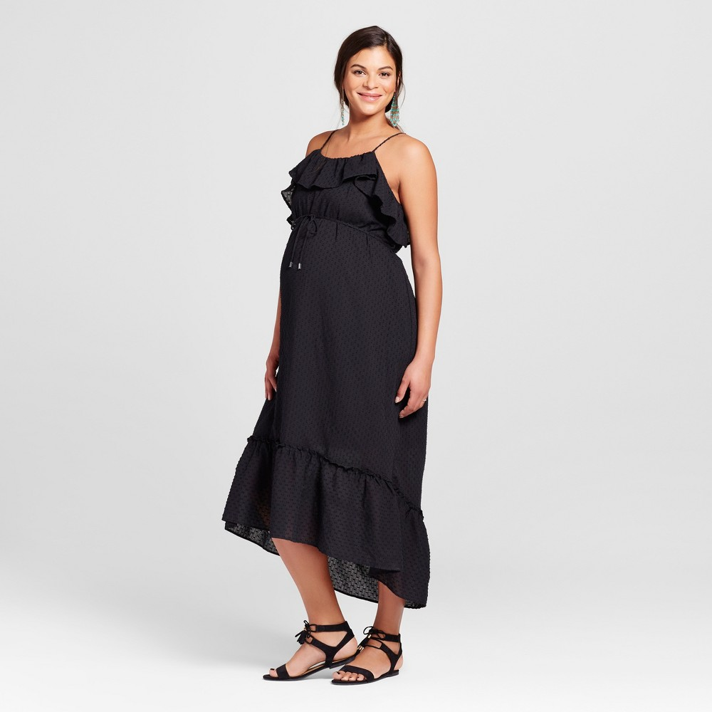 Maternity Cold Shoulder Maxi Dress S - 14Th Place, Womens, Black