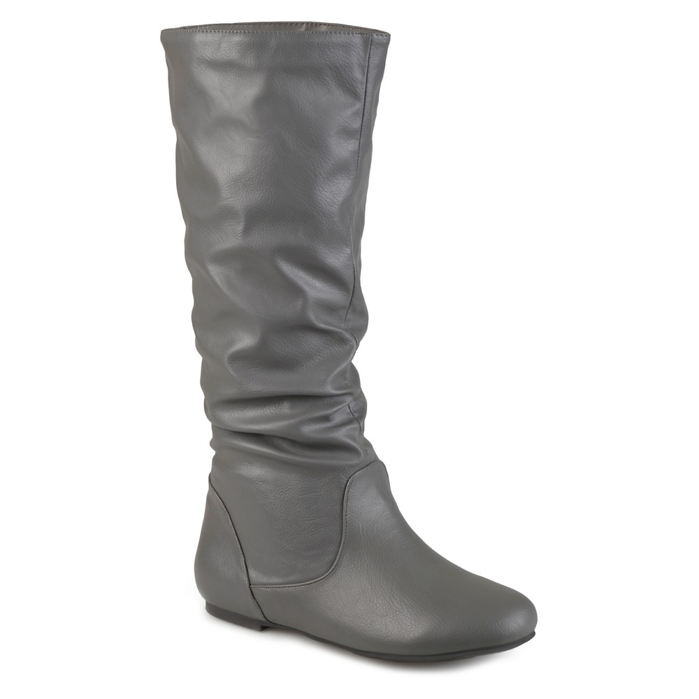 Womens Journee Collection Extra Wide Calf Mid-Calf Slouch Riding Boots - Gray 8 Extra Wide Calf