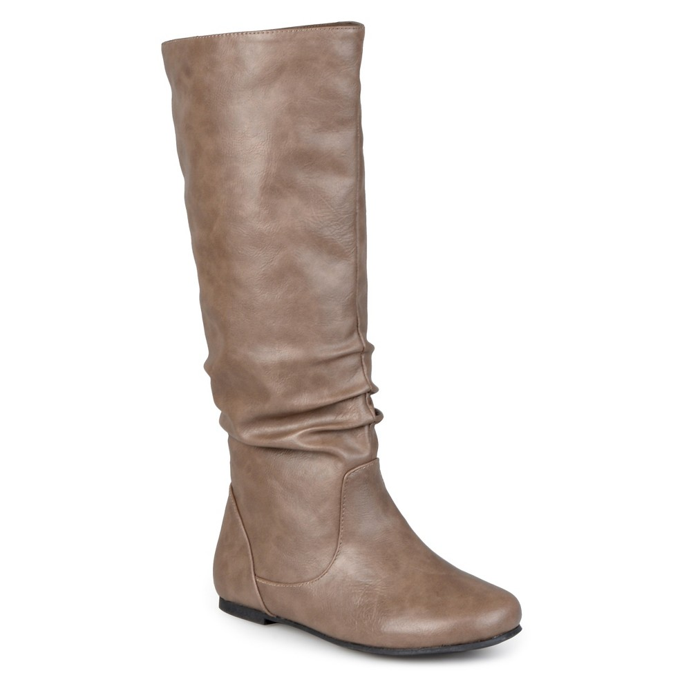 Womens Journee Collection Extra Wide Calf Mid-Calf Slouch Riding Boots - Taupe Brown 8 Extra Wide Calf