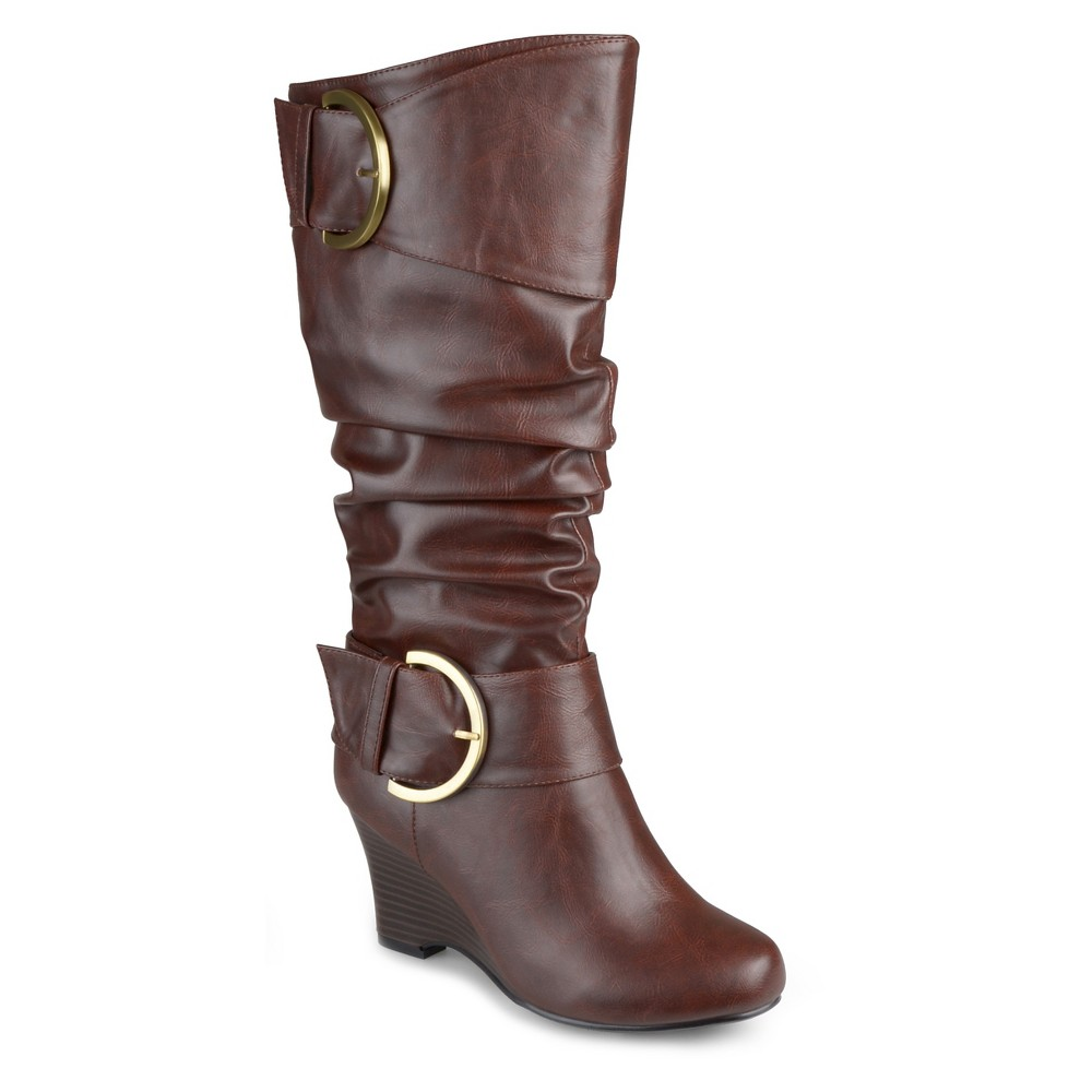 Womens Journee Collection Extra Wide Calf Tall Faux Leather Buckle Boots - Brown 10 Extra Wide Calf