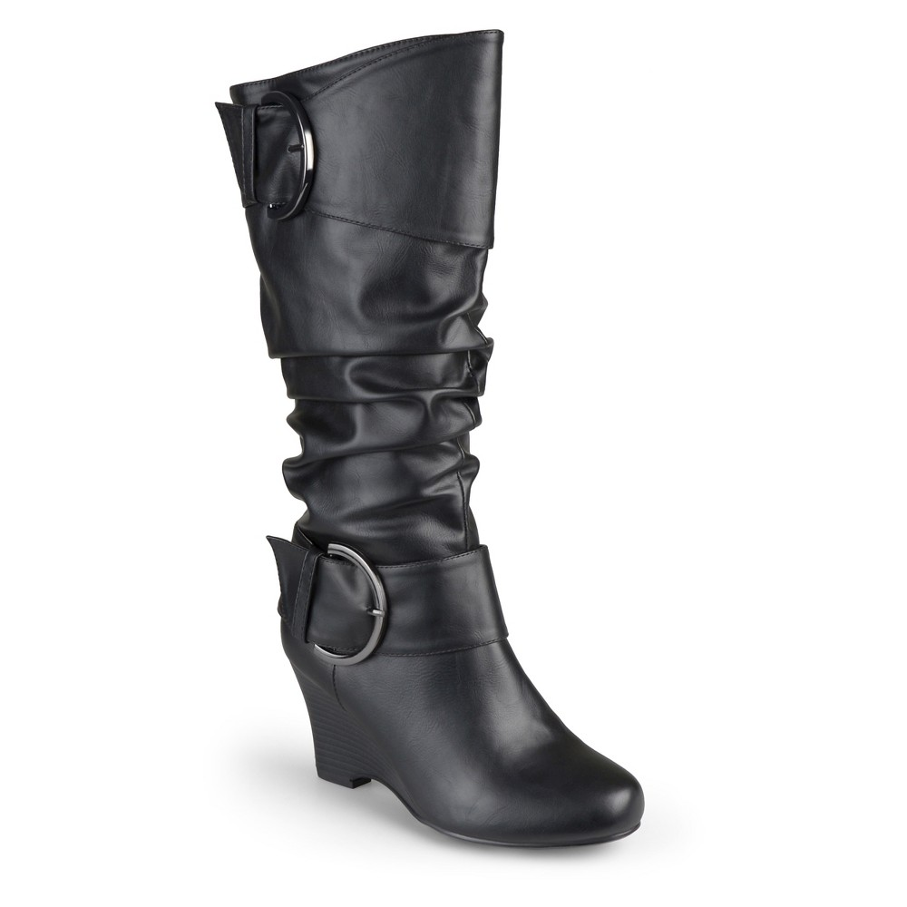 Womens Journee Collection Extra Wide Calf Tall Faux Leather Buckle Boots - Black 7 Extra Wide Calf