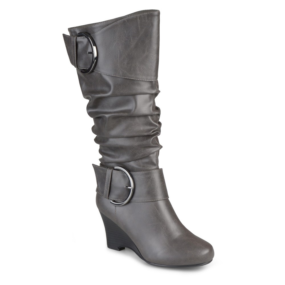 Womens Journee Collection Extra Wide Calf Tall Faux Leather Buckle Boots - Gray 8 Extra Wide Calf
