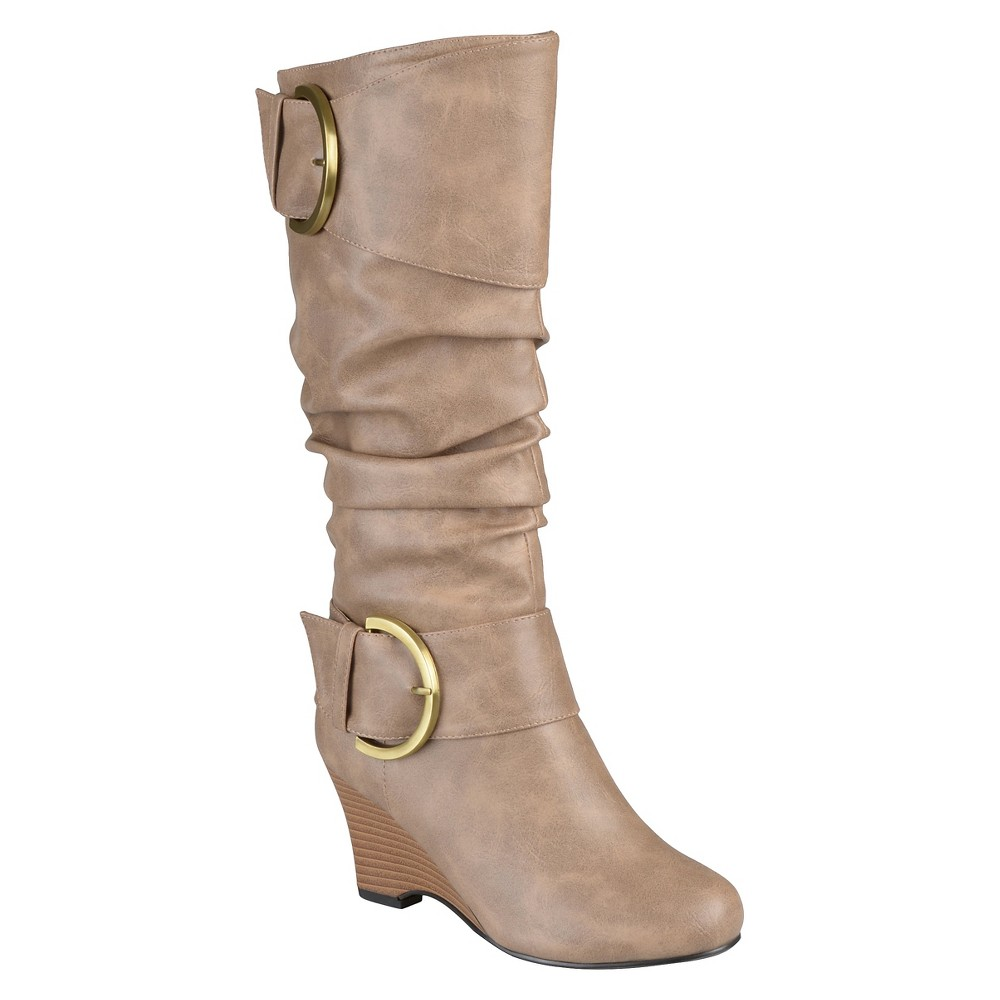 Womens Journee Collection Extra Wide Calf Tall Faux Leather Buckle Boots - Taupe Brown 10 Extra Wide Calf