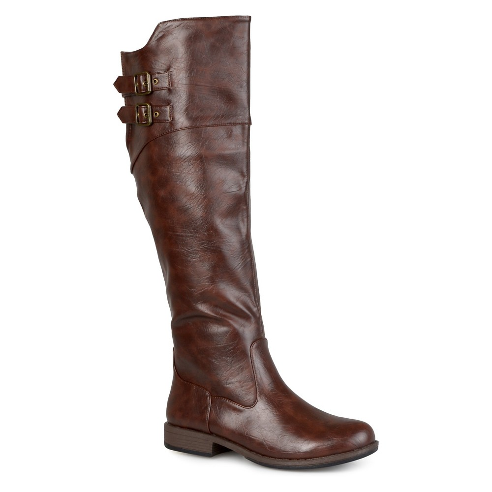 Womens Extra Journee Collection Double Buckle Knee-High Riding Boots - Brown 8 Extra Wide Calf