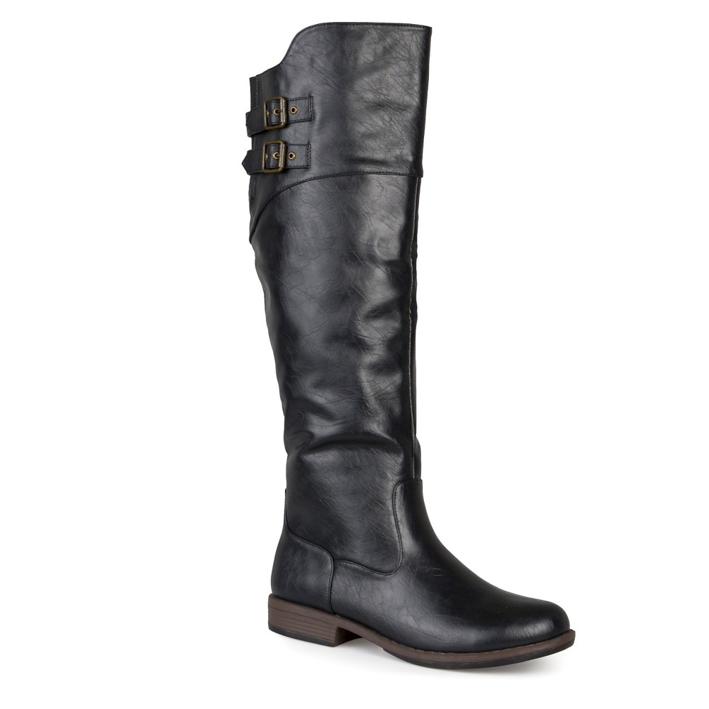 Womens Extra Journee Collection Double Buckle Knee-High Riding Boots - Black 8 Extra Wide Calf