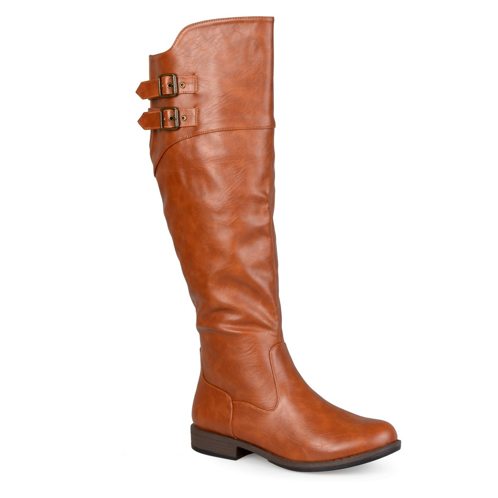 Womens Extra Journee Collection Double Buckle Knee-High Riding Boots - Dark Chestnut 9 Extra Wide Calf