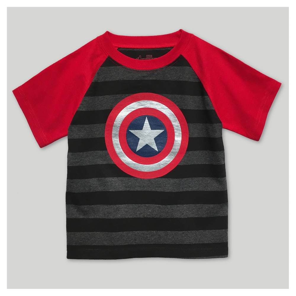 Avengers Toddler Boys Captain T-Shirt - Black/Red 4T, Gray
