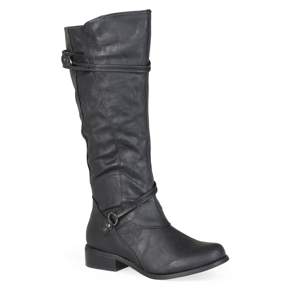 Womens Journee Collection Wide Calf Ankle Strap Buckle Knee-High Riding Boots - Black 7W, Size: 7 Wide Calf