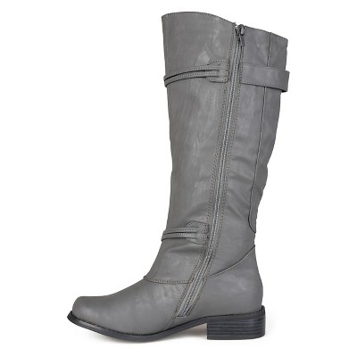 Women's Journee Collection Extra Wide Calf Ankle Strap Buckle Knee-High Riding Boots - Grey 8.5 Extra Wide Calf