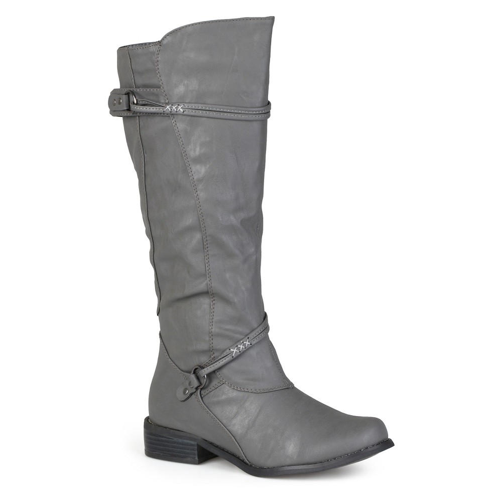 Womens Journee Collection Extra Wide Calf Ankle Strap Buckle Knee-High Riding Boots - Gray 10 Extra Wide Calf