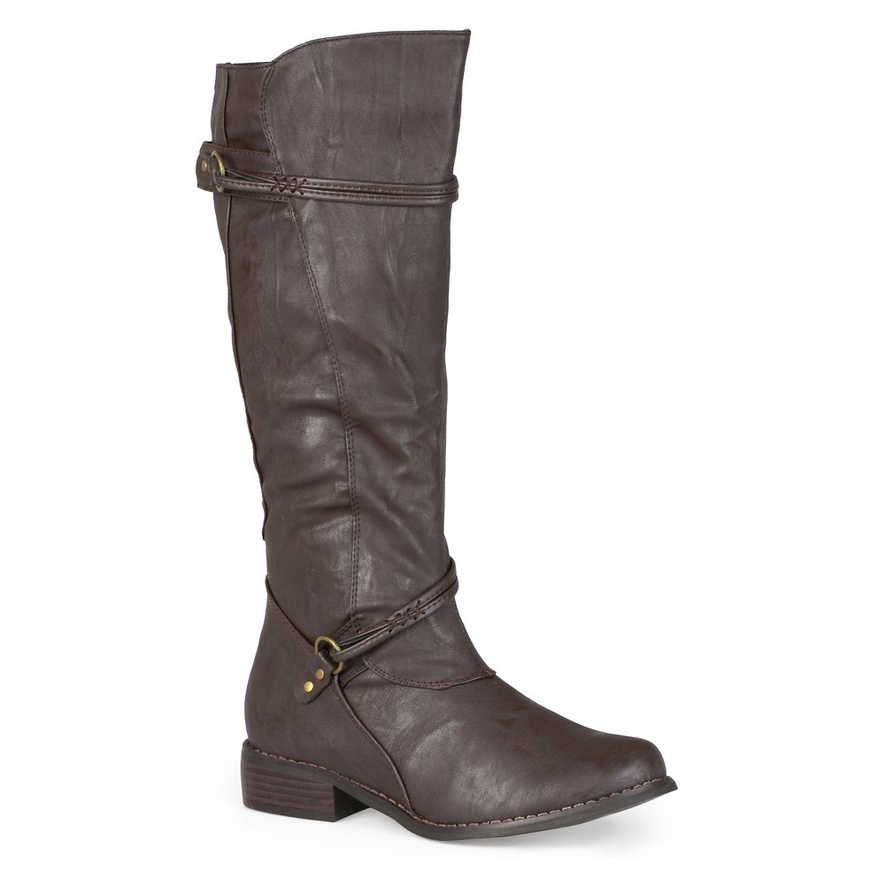 Womens Journee Collection Wide Calf Ankle Strap Buckle Knee-High Riding Boots - Brown 10W, Size: 10 Wide Calf
